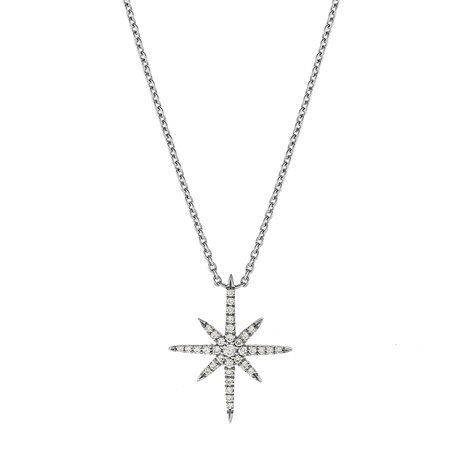 Fortune 18ct White Gold 0.12cttw Diamond Star Pendant