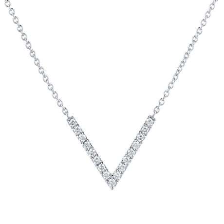 Fortune 18ct White Gold 0.15cttw Diamond V Pendant