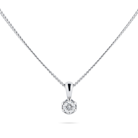 9ct White Gold 0.10cttw Bezel Set Illusion Pendant