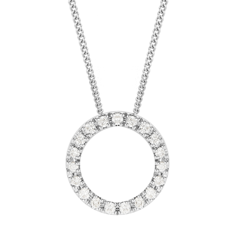 9ct White Gold 0.15ct Diamond Circle Necklace