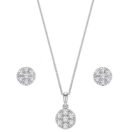 9ct White Gold 0.50ct Diamond Pendant and Earring Set