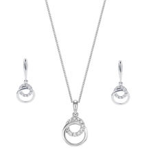 9ct White Gold 0.10ct Diamond Pendant and Earring Set