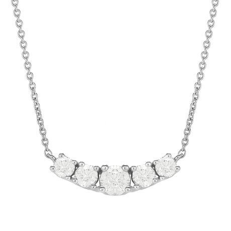 18ct White Gold 0.80ct 5 Stone Diamond Necklace