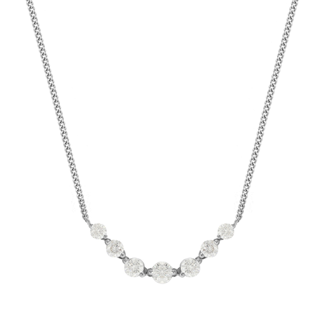 18ct White Gold 0.80ct 7 Stone Diamond Necklace
