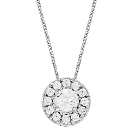 9ct White Gold 0.35ct Diamond Halo Pendant
