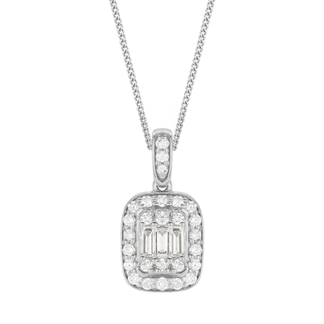 9ct White Gold 0.26cttw Mixed Cut Diamond Pendant