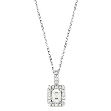 18ct White Gold 0.50cttw Emerald Cut Halo Pendant