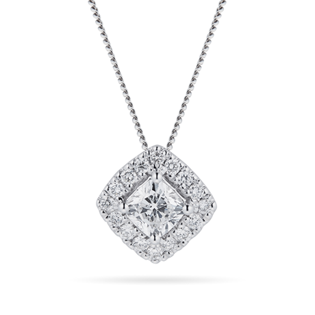 18ct White Gold 0.50cttw Cushion Cut Halo Pendant