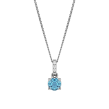 9ct White Gold Blue & White Topaz Pendant
