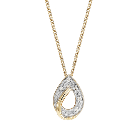 9ct Yellow Gold Diamond Pear Pendant