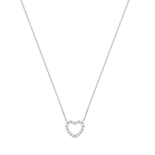 For Her - Fortune 18ct White Gold 0.18ct Diamond Heart Pendant - 12143116