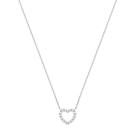 Fortune 18ct White Gold 0.18ct Diamond Heart Pendant