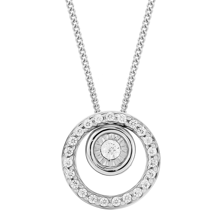 9ct White Gold 0.12ct Diamond Circle Pendant