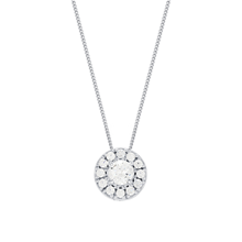 For Her - 9ct White Gold 0.10ct Diamond Illusion Halo Pendant - 12143118