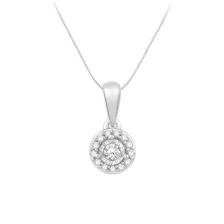 9ct White Gold 0.10ct Diamond Illusion Halo Pendant