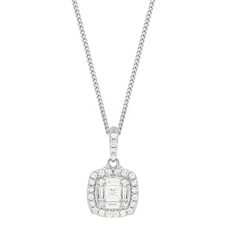 9ct White Gold 0.23ct Diamond Cushion Cluster Pendant