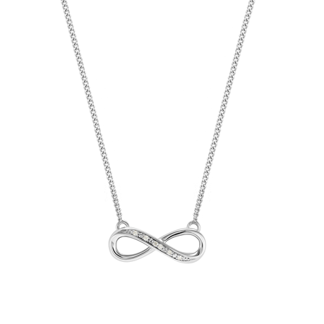 9ct White Gold Diamond Infinity Pendant