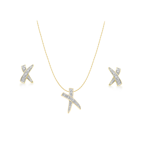 9ct Yellow Gold Diamond Cross Pendant & Earrings Set