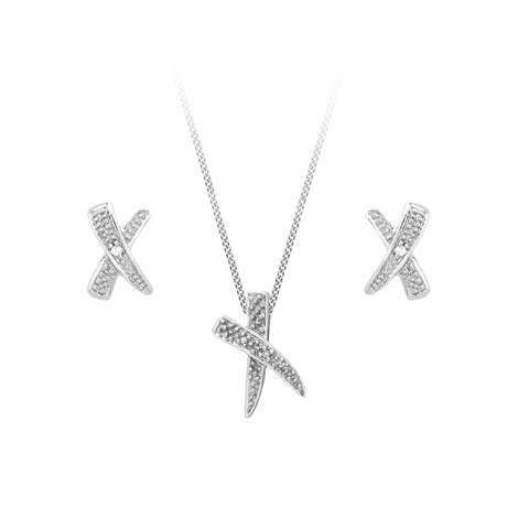 9ct White Gold Diamond Cross Pendant & Earrings Set