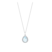 9ct White Gold Blue Topaz Pear Halo Pendant
