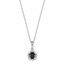 For Her - 9ct White Gold Sapphire & Diamond Halo Pendant - TN9506
