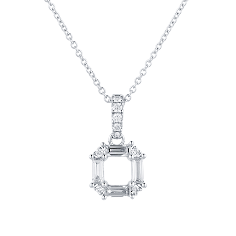 Renee 18ct White Gold 0.37cttw Diamond Open Square Pendant
