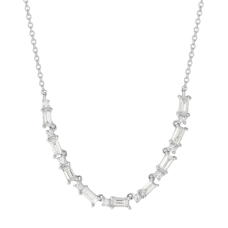 Renee 18ct White Gold 0.47cttw Small Line Necklace