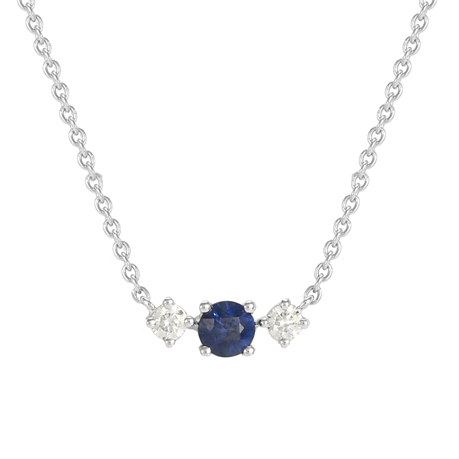 Carrington 18ct White Gold Sapphire & Diamond Single Cluster Necklace