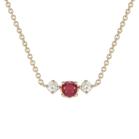Carrington 18ct Yellow Gold Ruby & Diamond Single Cluster Necklace