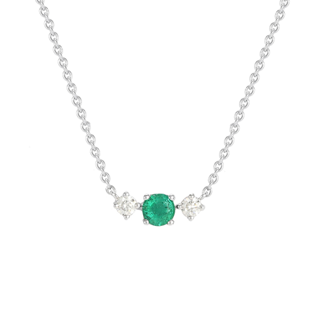Carrington 18ct White Gold Emerald & Diamond Single Cluster Necklace