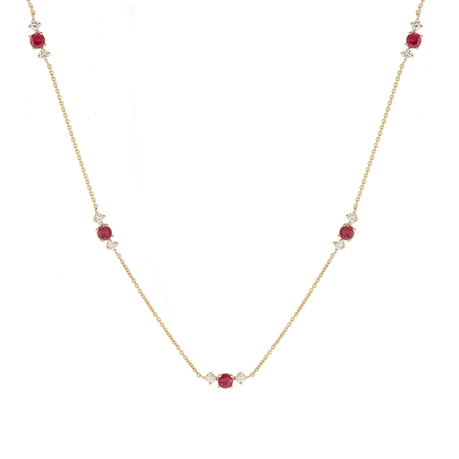 Carrington 18 Yellow Gold Ruby & Diamond 5 Cluster Necklace