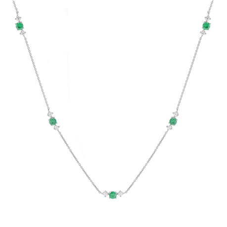 Carrington 18 White Gold Emerald & Diamond 5 Cluster Necklace