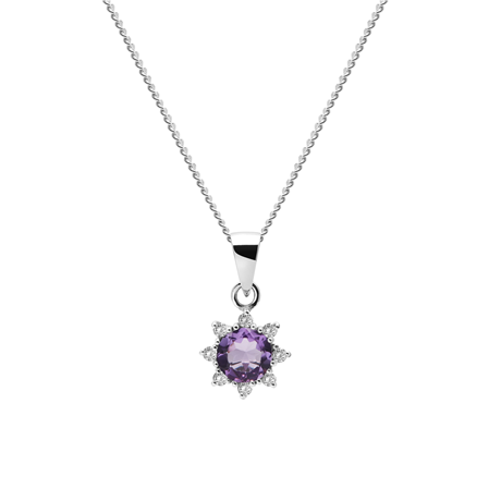 9ct White Gold Amethyst & Diamond Flower Pendant