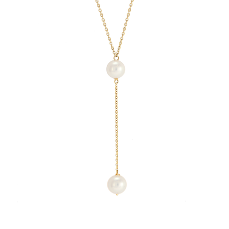 18ct Yellow Gold Freshwater Pearl Chain Necklace