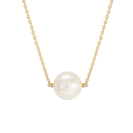18ct Yellow Gold White Freshwater Pearl Chain Necklace