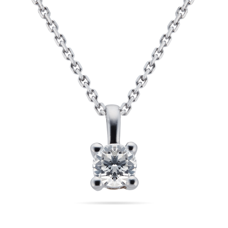 9ct White Gold 0.15ct 4 Claw Diamond Pendant