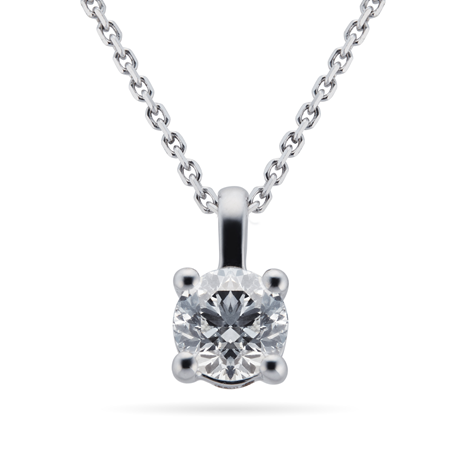 9ct White Gold 0.30ct 4 Claw Diamond Pendant