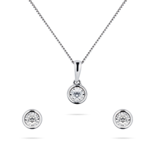 9ct White Gold 0.20cttw Diamond Pendant and Earring Set