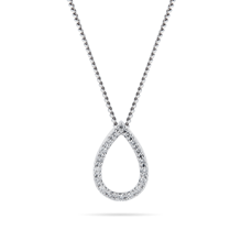 For Her - 9ct White Gold 0.15cttw Diamond Pear Pendant - 12143199