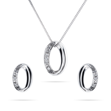 For Her - 9ct White Gold 0.05cttw Diamond Illusion Open Oval Set - 12143213