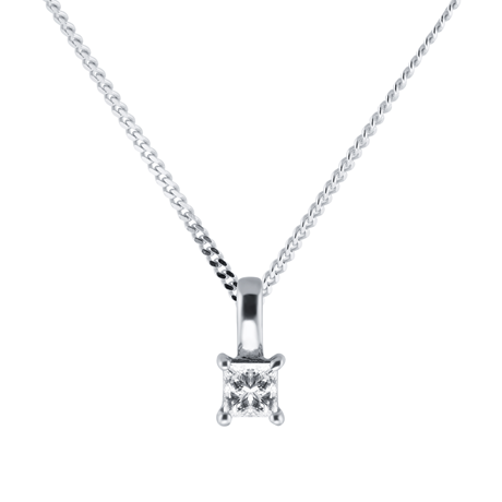9ct White Gold 0.25ct Diamond Princess Cut Pendant