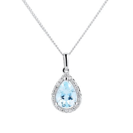 9ct White Gold Aquamarine & Diamond 0.072ct Pear Pendant