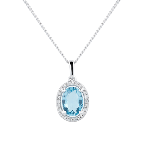 9ct White Gold Topaz & Diamond 0.072ct Oval Pendant
