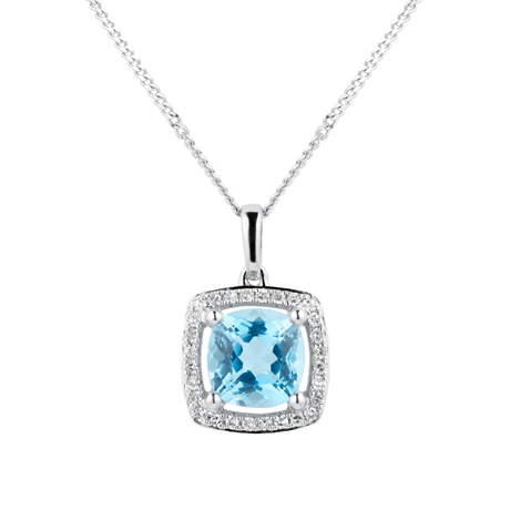 9ct White Gold Topaz & Diamond 0.084ct Cushion Pendant