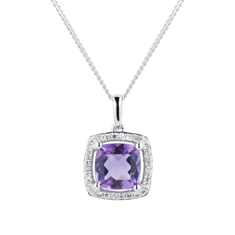 9ct White Gold Amethyst & Diamond 0.084ct Cushion Pendant