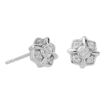 9ct White Gold 0.06ct Diamond Square Cluster Stud Earrings