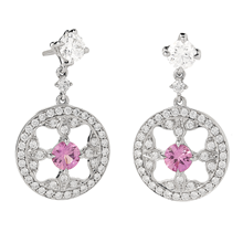 Empress 18ct White Gold 0.74cttw Pink Sapphire and Diamond Drop Earrings