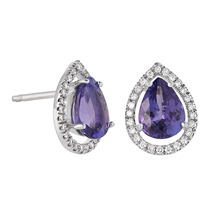 18ct White Gold 2.27cttw Tanzanite and Diamond Drop Earrings