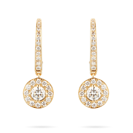 Fonteyn 18ct Yellow Gold 0.68cttw Diamond Halo Carriage Earrings