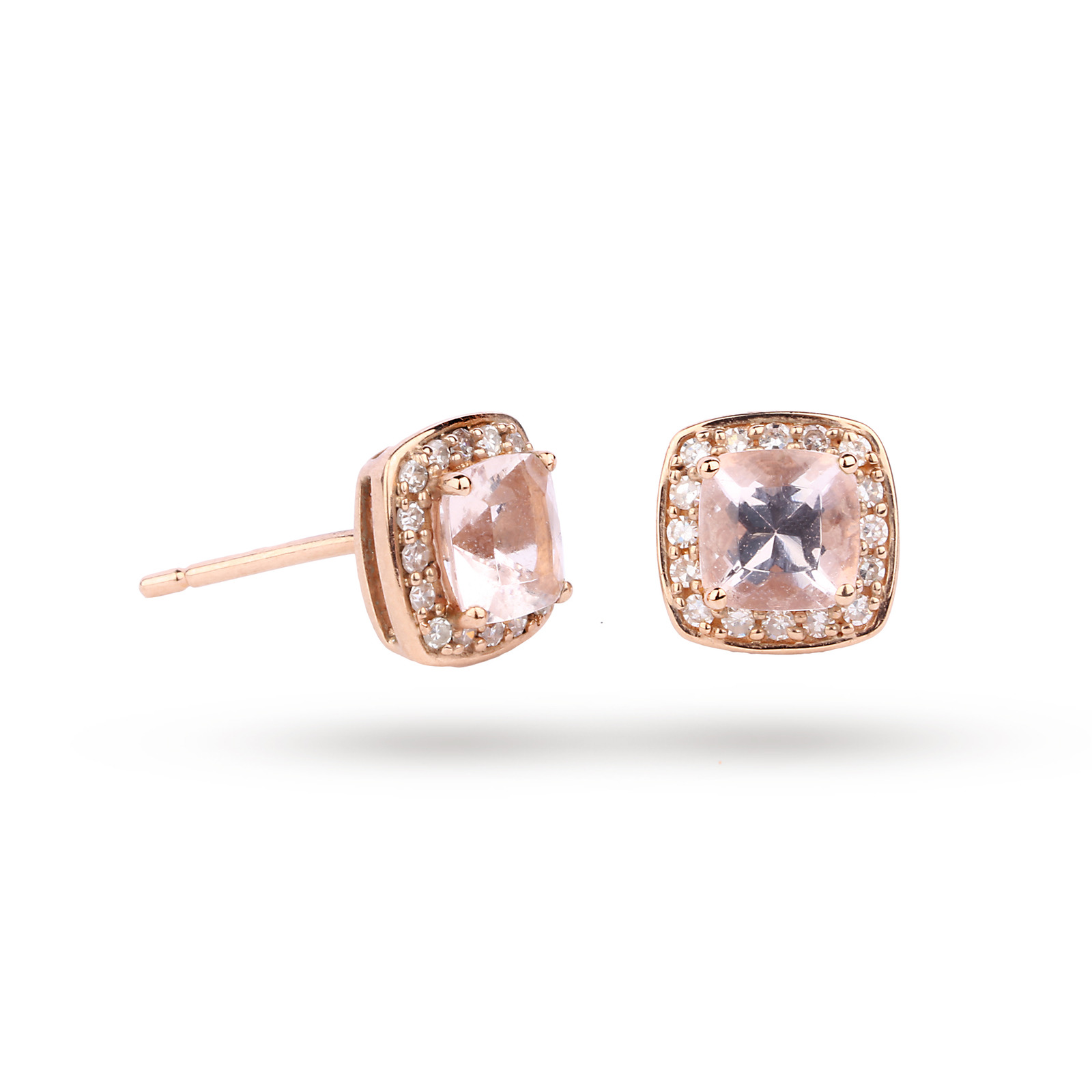 miadora earrings gold h itm and tgw tdw stud morganite halo g diamond rose